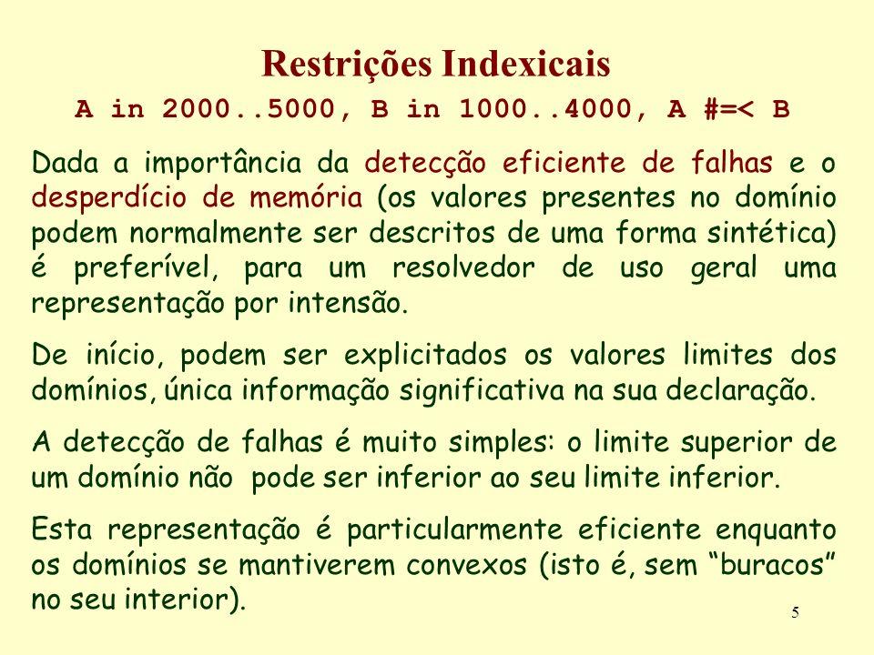 5 Restrições Indexicais A in 2000..5000, B in 1000..4000, A #=< B Dada a importância da detecção eficiente de falhas e o desperdício de memória (os va