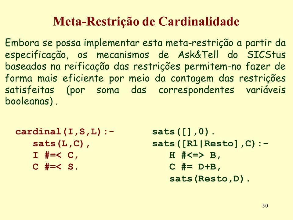 50 Meta-Restrição de Cardinalidade Embora se possa implementar esta meta-restrição a partir da especificação, os mecanismos de Ask&Tell do SICStus bas