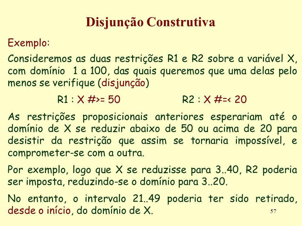 57 Disjunção Construtiva Exemplo: Consideremos as duas restrições R1 e R2 sobre a variável X, com domínio 1 a 100, das quais queremos que uma delas pe