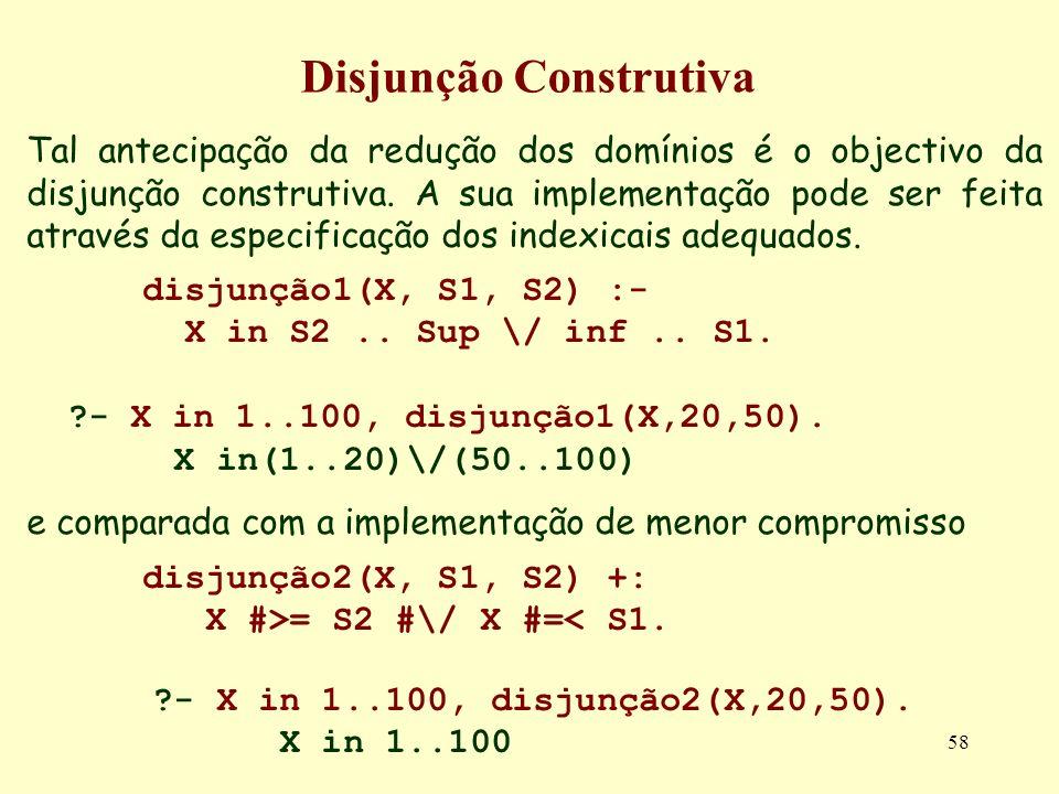 58 Disjunção Construtiva Tal antecipação da redução dos domínios é o objectivo da disjunção construtiva. A sua implementação pode ser feita através da
