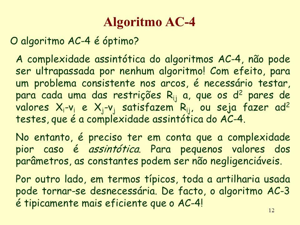 12 Algoritmo AC-4 O algoritmo AC-4 é óptimo? A complexidade assintótica do algoritmos AC-4, não pode ser ultrapassada por nenhum algoritmo! Com efeito