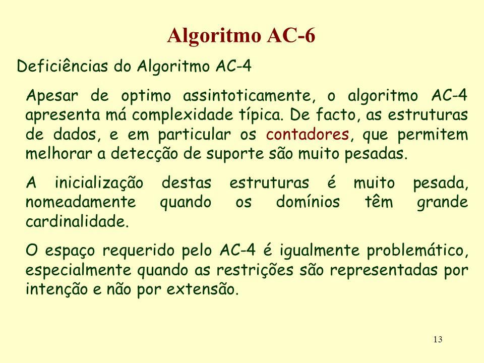 13 Algoritmo AC-6 Deficiências do Algoritmo AC-4 Apesar de optimo assintoticamente, o algoritmo AC-4 apresenta má complexidade típica. De facto, as es
