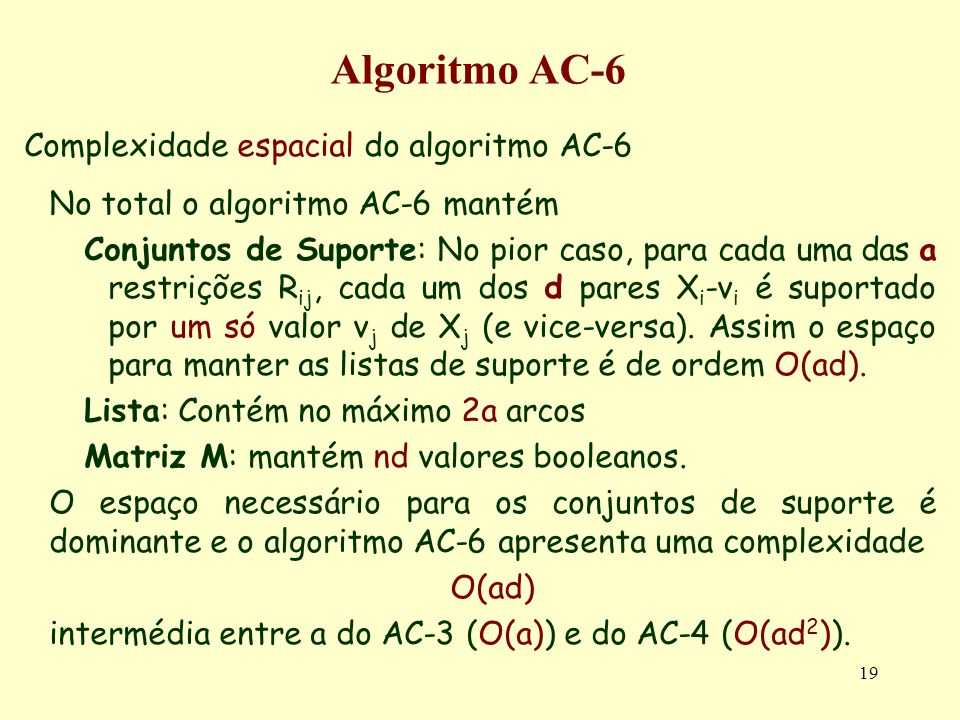 19 Algoritmo AC-6 Complexidade espacial do algoritmo AC-6 No total o algoritmo AC-6 mantém Conjuntos de Suporte: No pior caso, para cada uma das a res