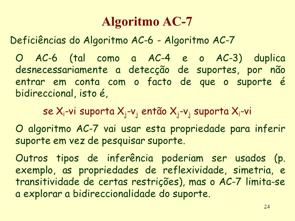 24 Algoritmo AC-7 Deficiências do Algoritmo AC-6 - Algoritmo AC-7 O AC-6 (tal como a AC-4 e o AC-3) duplica desnecessariamente a detecção de suportes,