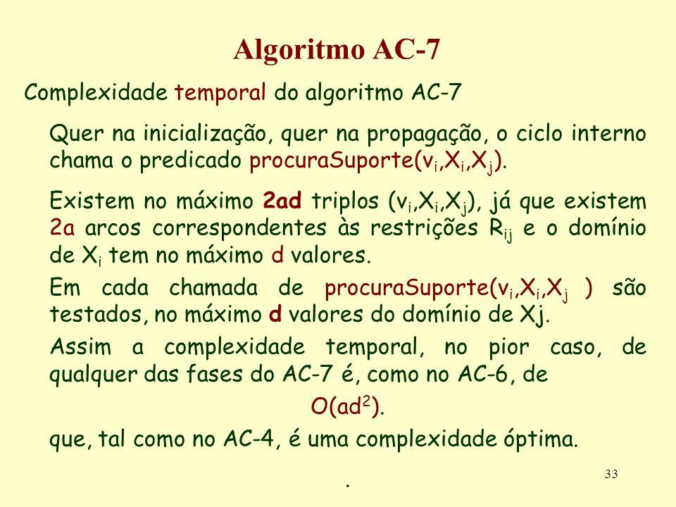 33 Algoritmo AC-7 Complexidade temporal do algoritmo AC-7 Quer na inicialização, quer na propagação, o ciclo interno chama o predicado procuraSuporte(