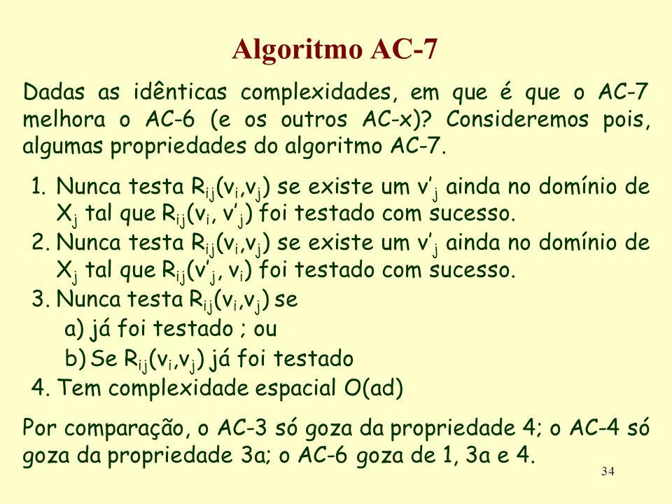 34 Algoritmo AC-7 Dadas as idênticas complexidades, em que é que o AC-7 melhora o AC-6 (e os outros AC-x)? Consideremos pois, algumas propriedades do