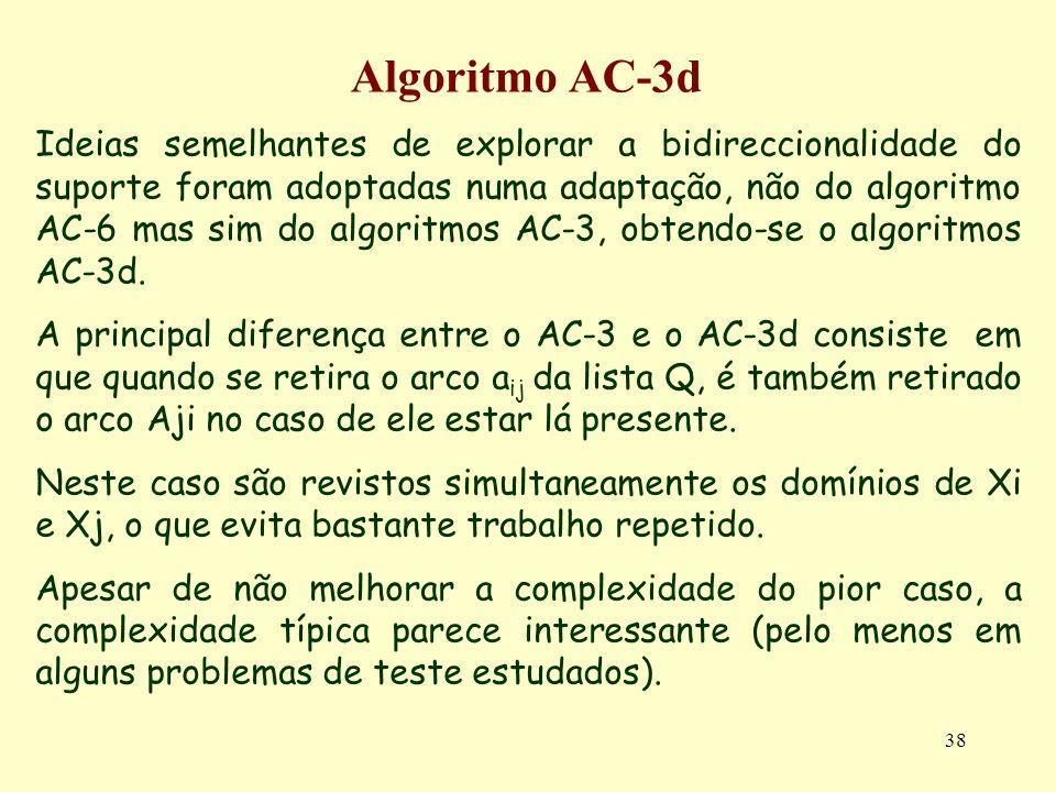 38 Algoritmo AC-3d Ideias semelhantes de explorar a bidireccionalidade do suporte foram adoptadas numa adaptação, não do algoritmo AC-6 mas sim do alg