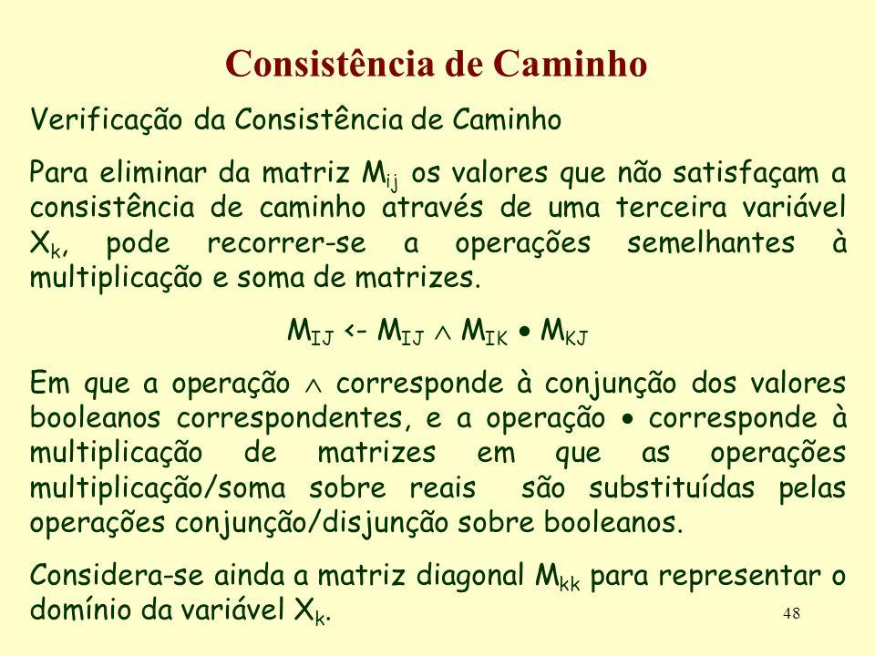 48 Consistência de Caminho Verificação da Consistência de Caminho Para eliminar da matriz M ij os valores que não satisfaçam a consistência de caminho