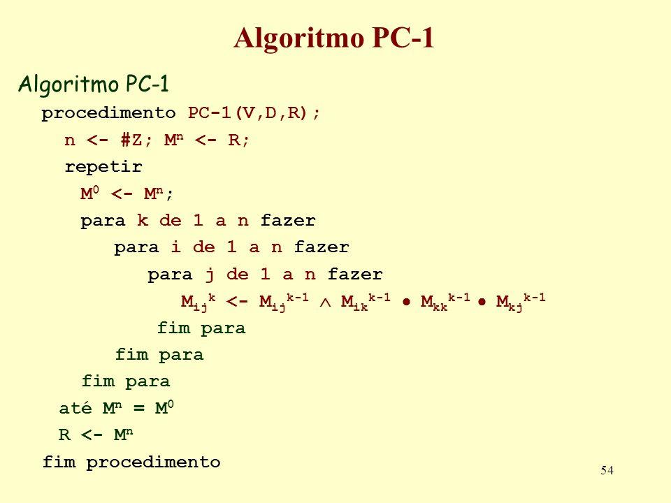 54 Algoritmo PC-1 procedimento PC-1(V,D,R); n <- #Z; M n <- R; repetir M 0 <- M n ; para k de 1 a n fazer para i de 1 a n fazer para j de 1 a n fazer