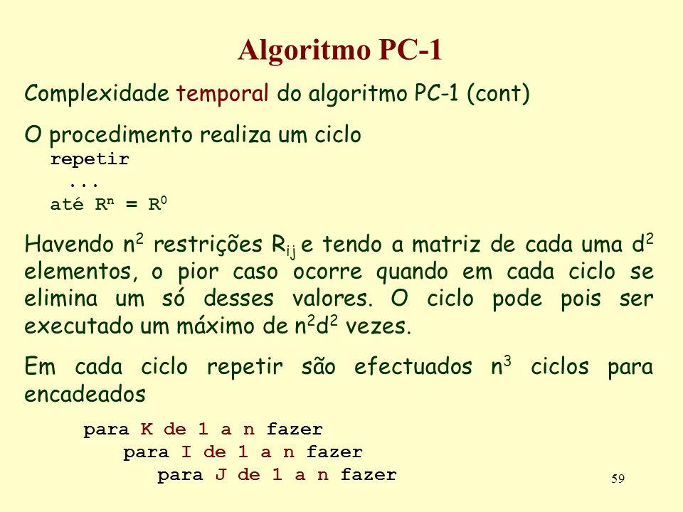 59 Algoritmo PC-1 Complexidade temporal do algoritmo PC-1 (cont) O procedimento realiza um ciclo repetir... até R n = R 0 Havendo n 2 restrições R ij