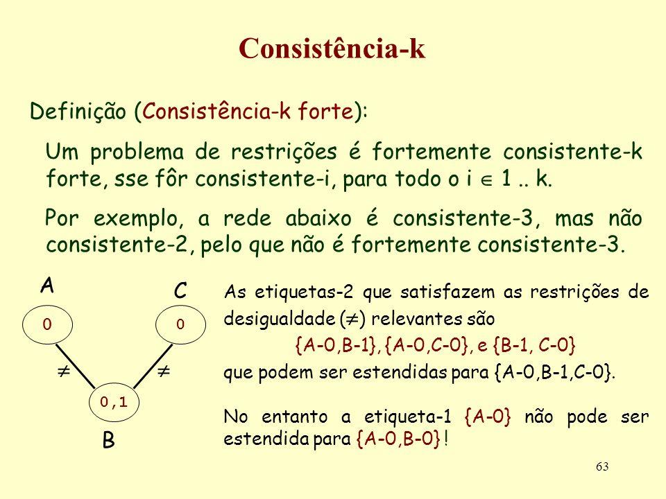 63 Consistência-k Definição (Consistência-k forte): Um problema de restrições é fortemente consistente-k forte, sse fôr consistente-i, para todo o i 1