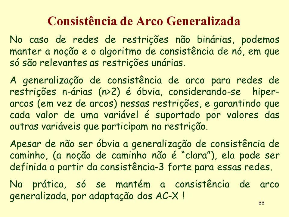 66 Consistência de Arco Generalizada No caso de redes de restrições não binárias, podemos manter a noção e o algoritmo de consistência de nó, em que s