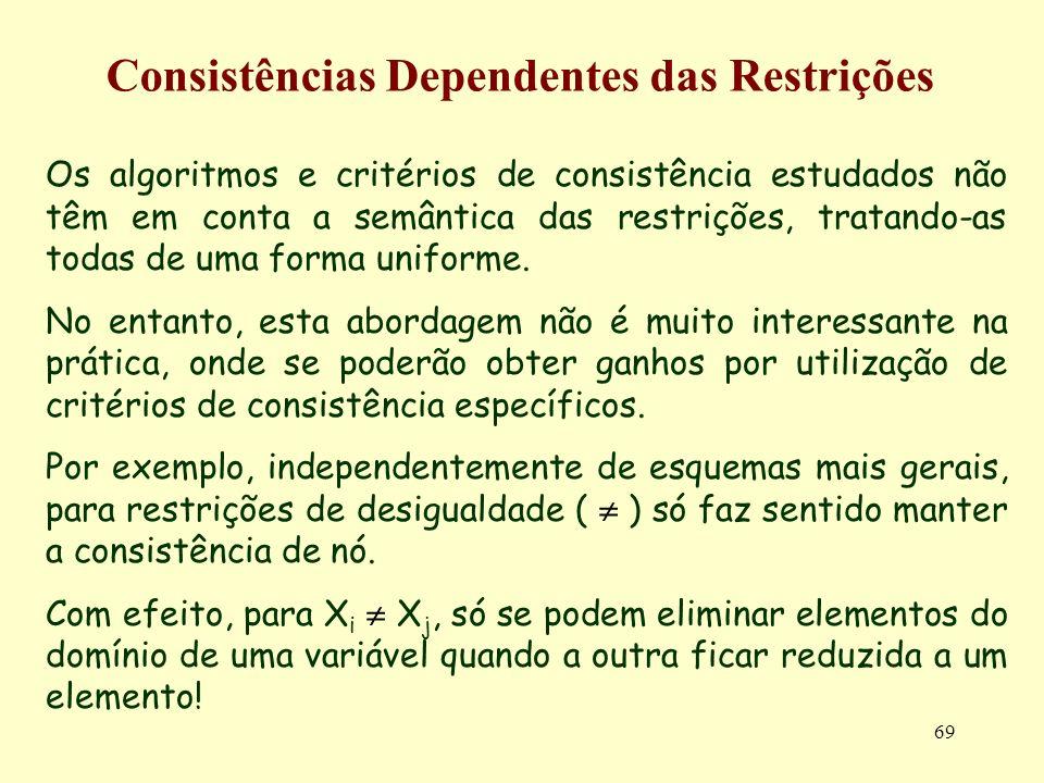 69 Consistências Dependentes das Restrições Os algoritmos e critérios de consistência estudados não têm em conta a semântica das restrições, tratando-