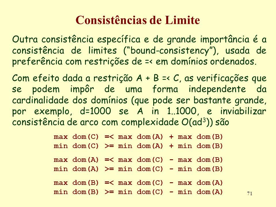 71 Consistências de Limite Outra consistência específica e de grande importância é a consistência de limites (bound-consistency), usada de preferência