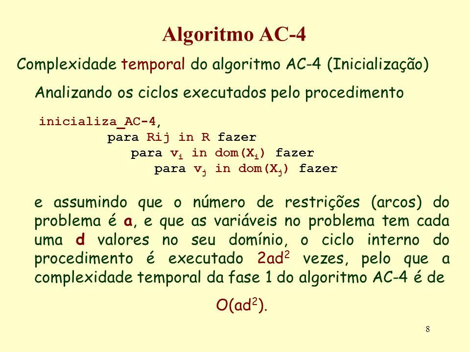 8 Algoritmo AC-4 Complexidade temporal do algoritmo AC-4 (Inicialização) Analizando os ciclos executados pelo procedimento inicializa_AC-4, para Rij i