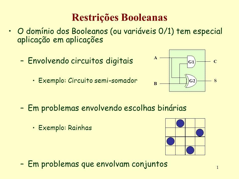 1 Restrições Booleanas O domínio dos Booleanos (ou variáveis 0/1) tem especial aplicação em aplicações –Envolvendo circuitos digitais Exemplo: Circuit
