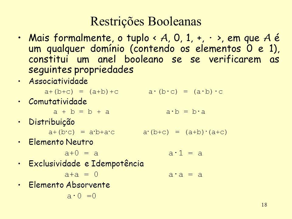 18 Restrições Booleanas Mais formalmente, o tuplo, em que A é um qualquer domínio (contendo os elementos 0 e 1), constitui um anel booleano se se veri