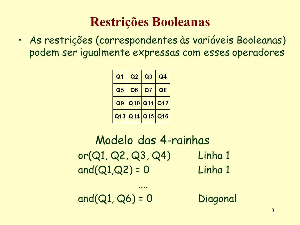 4 Restrições Booleanas A satisfação de restrições booleanas pode ser abordada de várias formas diferentes –Simbolicamente Unificação booleana –SAT Colocação de todas as restrições na forma clausal Resolução construtiva (retrocesso) ou reparativa (pesquisa local) –Domínios finitos O domínio 0/1 é um domínio finito com 2 valores Resolução comum aos domínios finitos