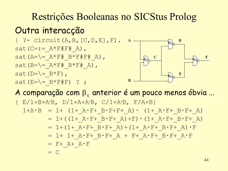 44 Restrições Booleanas no SICStus Prolog Outra interacção | ?- circuit(A,B,[C,D,E],F). sat(C=:=_A*F#F#_A), sat(A=\=_A*F#_B*F#F#_A), sat(B=\=_A*F#_B*F