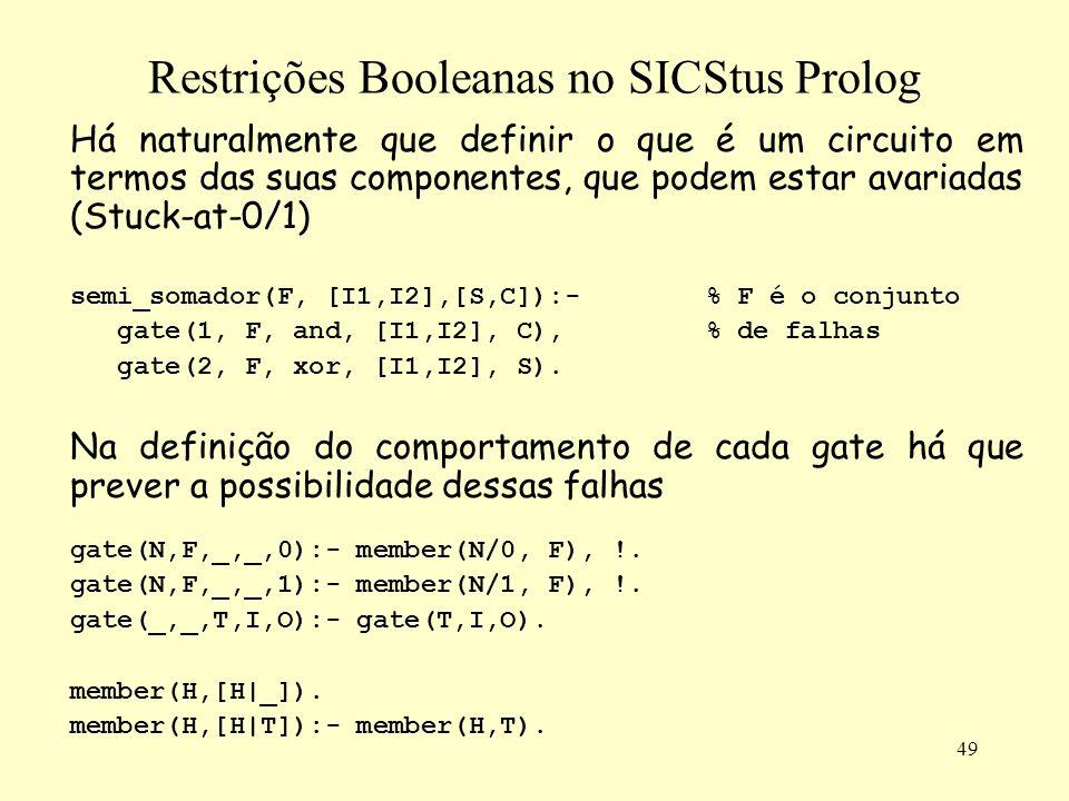 49 Restrições Booleanas no SICStus Prolog Há naturalmente que definir o que é um circuito em termos das suas componentes, que podem estar avariadas (S
