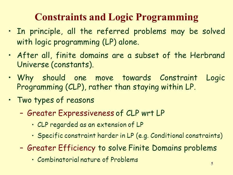46 Restrições Booleanas no SICStus Prolog rainhas_3([Q1, Q2, Q3, Q4, Q5, Q6, Q7, Q8, Q9]):- um_ou_mais( [Q1, Q2, Q3]), % linha 1 um_ou_menos([Q1, Q2, Q3]),...