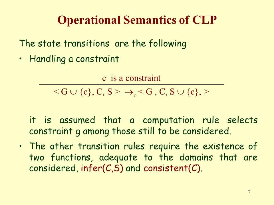 18 Restrições Booleanas Mais formalmente, o tuplo, em que A é um qualquer domínio (contendo os elementos 0 e 1), constitui um anel booleano se se verificarem as seguintes propriedades Associatividade a+(b+c) = (a+b)+ca · (b · c) = (a · b) · c Comutatividade a + b = b + aa · b = b · a Distribuição a+(b · c) = a · b+a · ca · (b+c) = (a+b) · (a+c) Elemento Neutro a+0 = aa · 1 = a Exclusividade e Idempotência a+a = 0 a · a = a Elemento Absorvente a · 0 =0