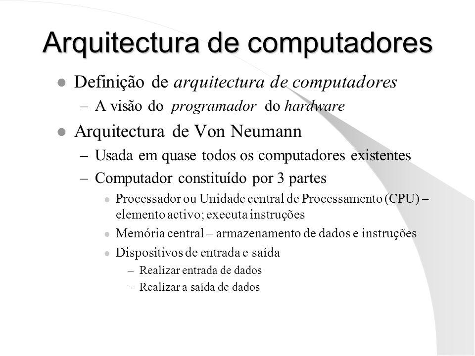 Arquitectura de computadores l Definição de arquitectura de computadores –A visão do programador do hardware l Arquitectura de Von Neumann –Usada em q