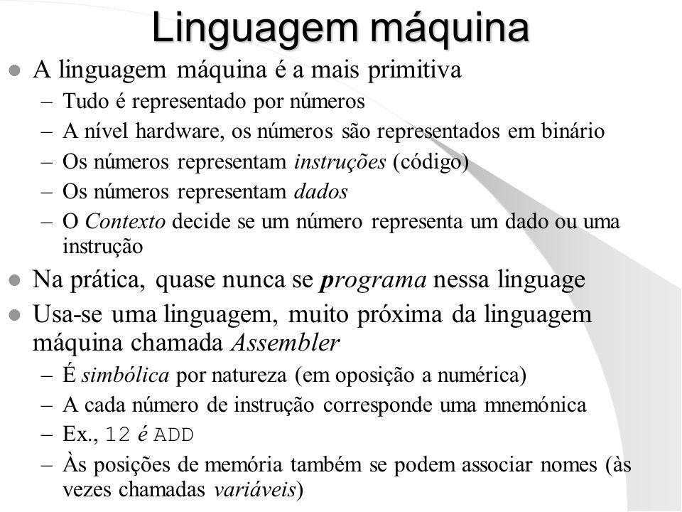 Linguagem máquina l A linguagem máquina é a mais primitiva –Tudo é representado por números –A nível hardware, os números são representados em binário