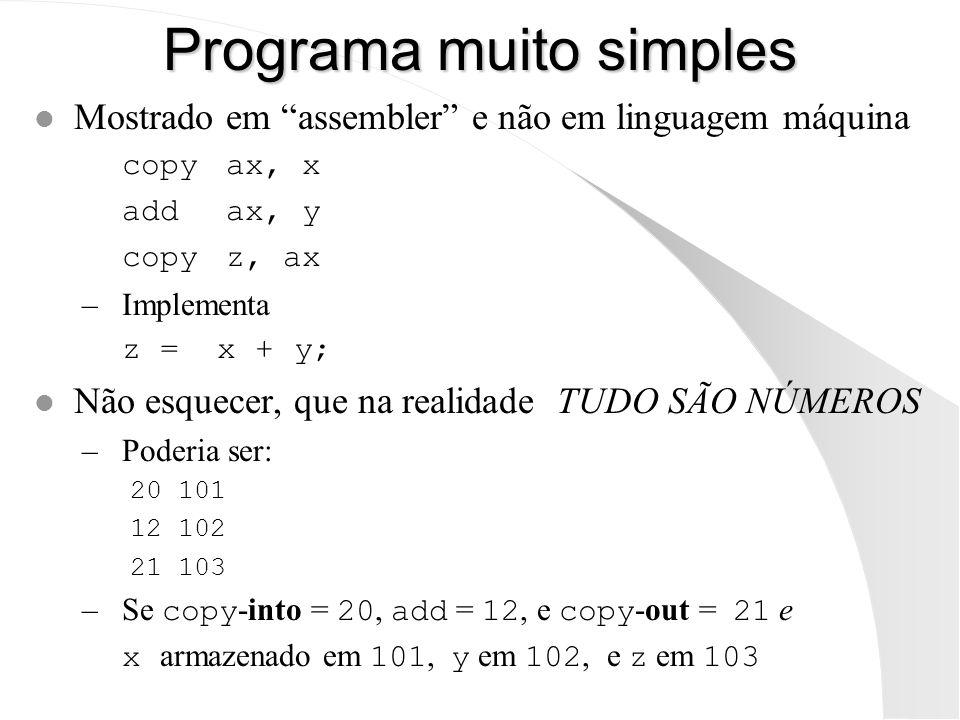 Programa muito simples l Mostrado em assembler e não em linguagem máquina copyax, x addax, y copyz, ax –Implementa z = x + y; l Não esquecer, que na r