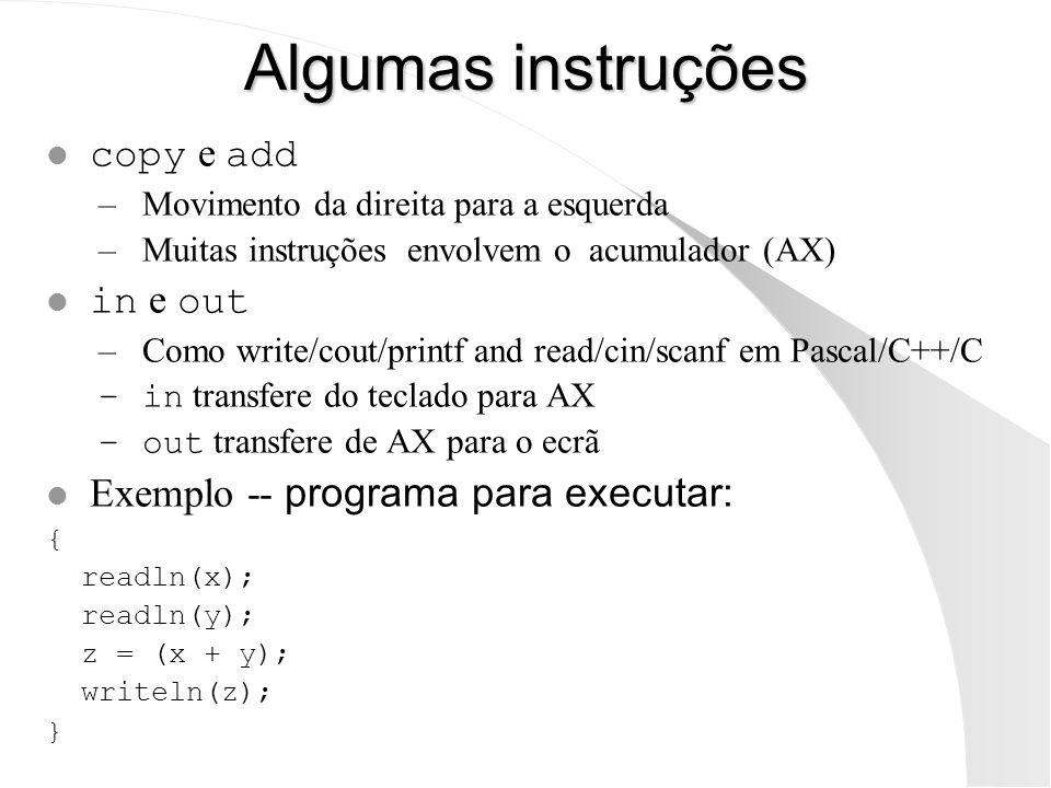 Algumas instruções copy e add –Movimento da direita para a esquerda –Muitas instruções envolvem o acumulador (AX) in e out –Como write/cout/printf and