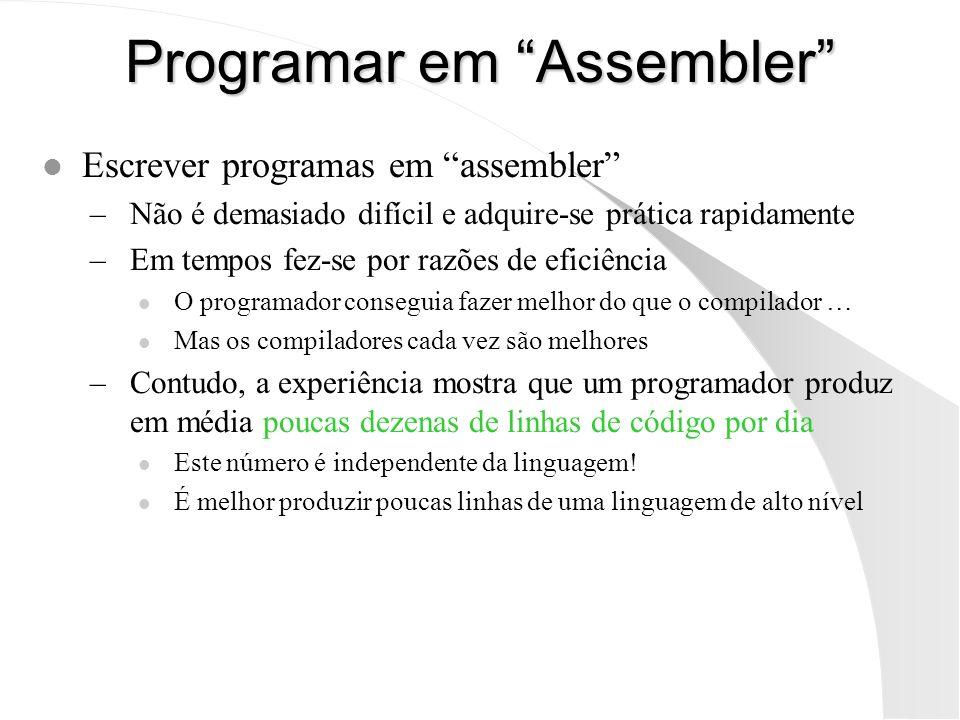 Programar em Assembler l Escrever programas em assembler –Não é demasiado difícil e adquire-se prática rapidamente –Em tempos fez-se por razões de efi