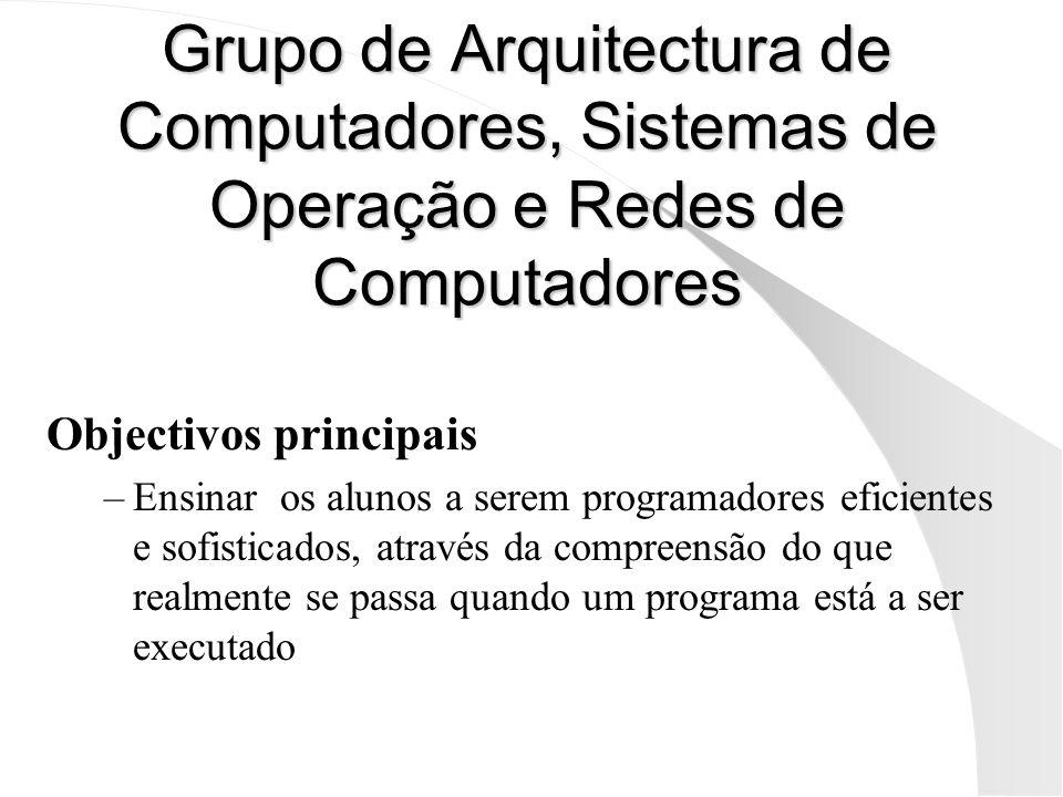 Grupo de Arquitectura de Computadores, Sistemas de Operação e Redes de Computadores Objectivos principais –Ensinar os alunos a serem programadores efi