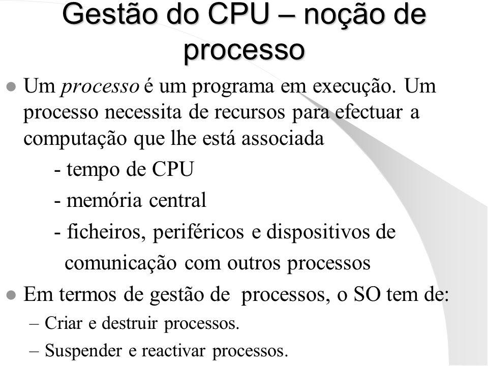 Gestão do CPU – noção de processo l Um processo é um programa em execução. Um processo necessita de recursos para efectuar a computação que lhe está a