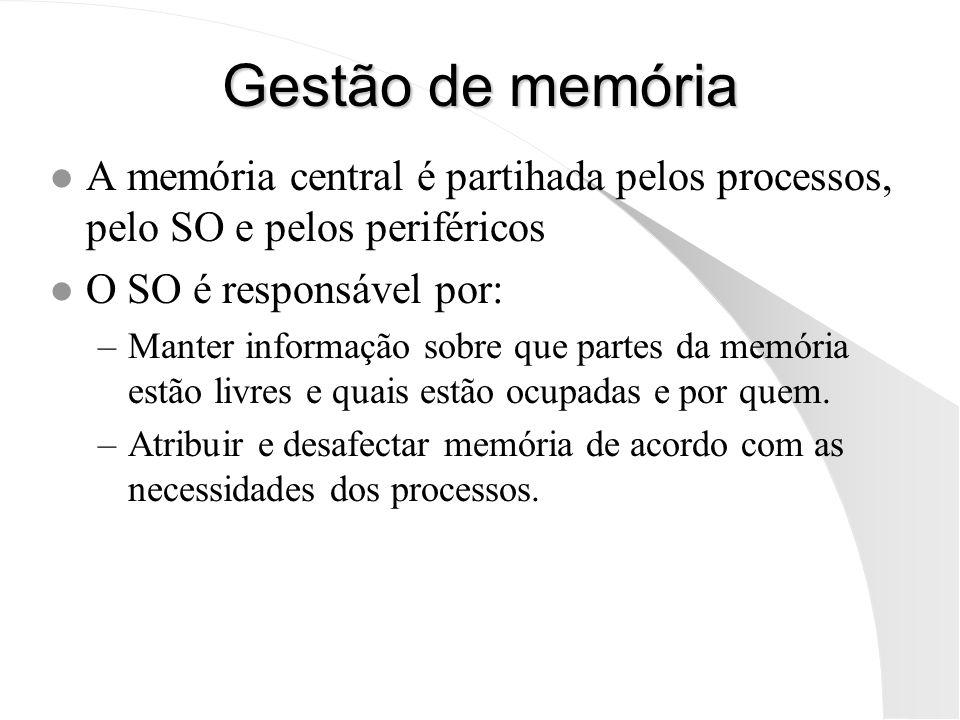Gestão de memória l A memória central é partihada pelos processos, pelo SO e pelos periféricos l O SO é responsável por: –Manter informação sobre que