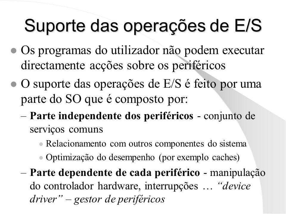 Suporte das operações de E/S l Os programas do utilizador não podem executar directamente acções sobre os periféricos l O suporte das operações de E/S