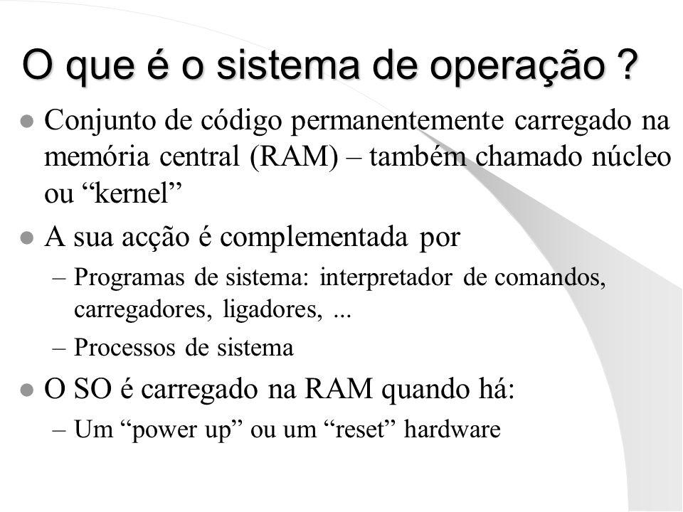 O que é o sistema de operação ? l Conjunto de código permanentemente carregado na memória central (RAM) – também chamado núcleo ou kernel l A sua acçã