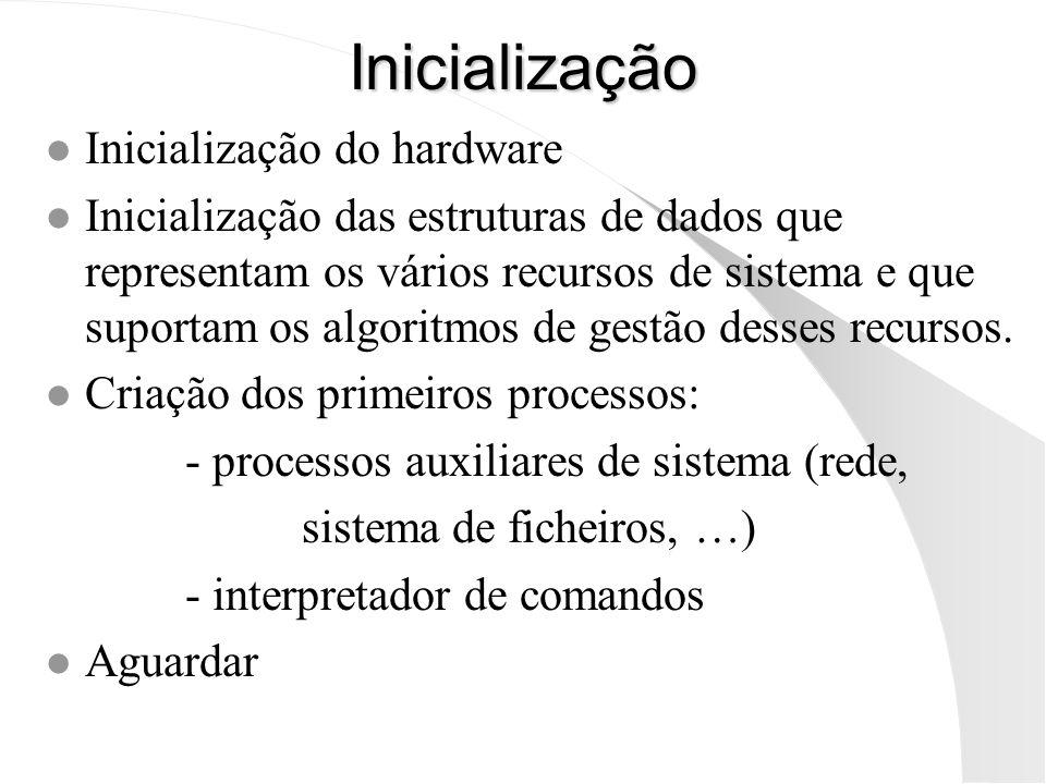 Inicialização l Inicialização do hardware l Inicialização das estruturas de dados que representam os vários recursos de sistema e que suportam os algo