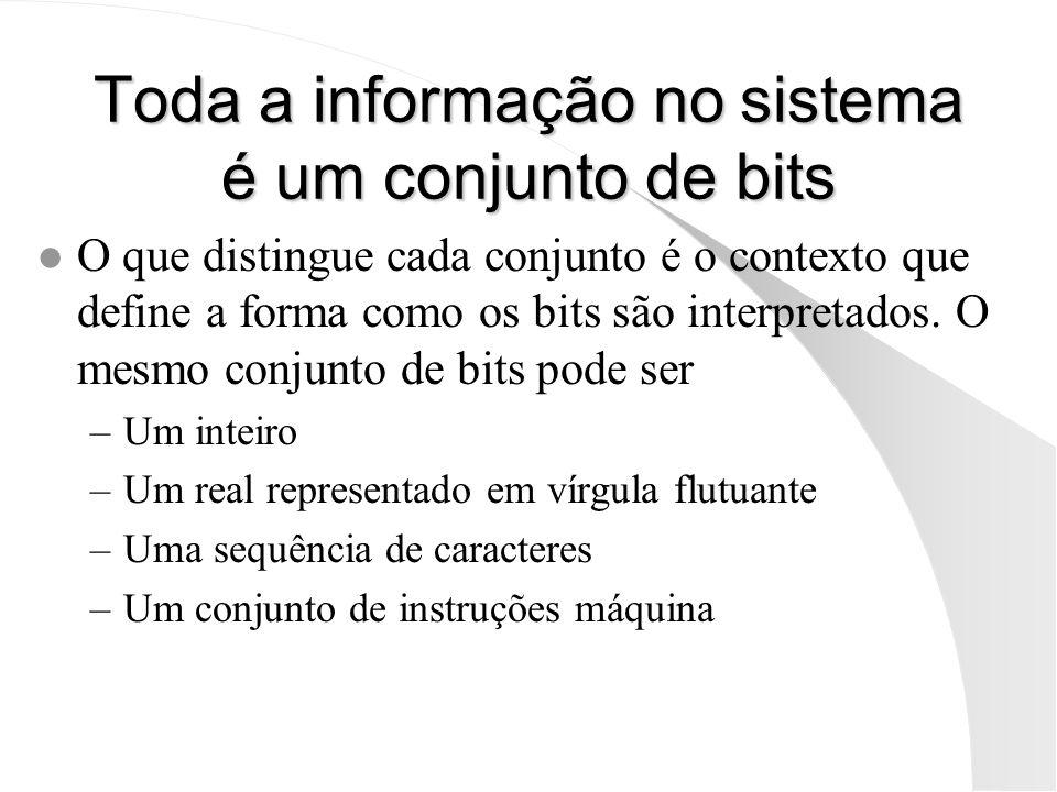 Toda a informação no sistema é um conjunto de bits l O que distingue cada conjunto é o contexto que define a forma como os bits são interpretados. O m