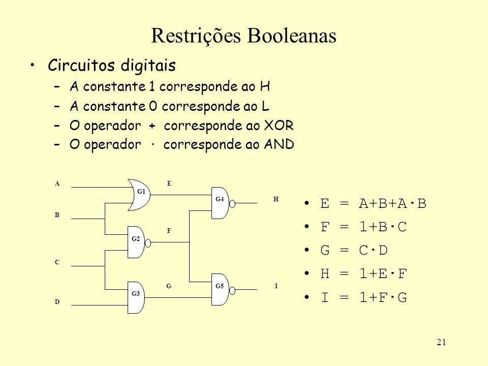 21 Restrições Booleanas Circuitos digitais –A constante 1 corresponde ao H –A constante 0 corresponde ao L –O operador + corresponde ao XOR –O operador · corresponde ao AND A C D B E F G H I G1 G2 G3 G4 G5 E = A+B+A·B F = 1+B·C G = C·D H = 1+E·F I = 1+F·G