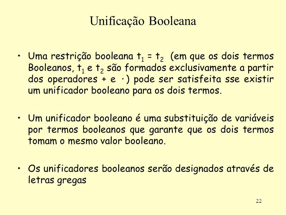 22 Unificação Booleana Uma restrição booleana t 1 = t 2 (em que os dois termos Booleanos, t 1 e t 2 são formados exclusivamente a partir dos operadore