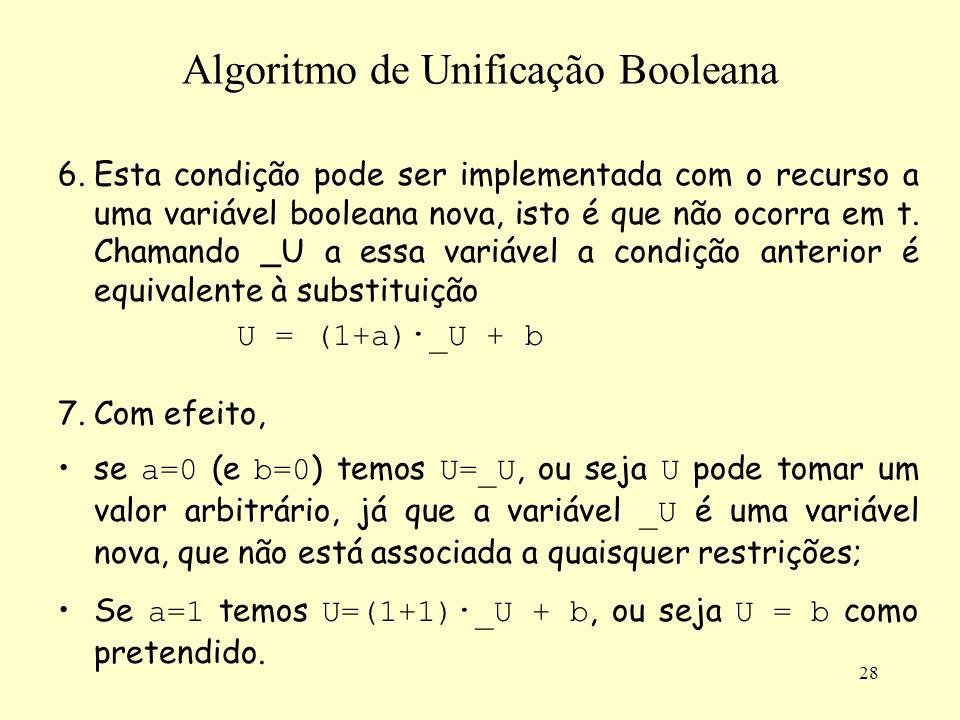 28 Algoritmo de Unificação Booleana 6.Esta condição pode ser implementada com o recurso a uma variável booleana nova, isto é que não ocorra em t. Cham