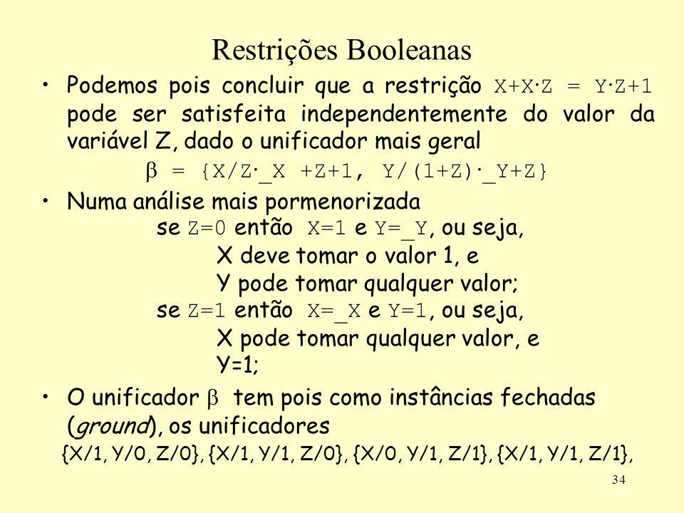 34 Restrições Booleanas Podemos pois concluir que a restrição X+X · Z = Y · Z+1 pode ser satisfeita independentemente do valor da variável Z, dado o unificador mais geral = {X/Z · _X +Z+1, Y/(1+Z) · _Y+Z} Numa análise mais pormenorizada se Z=0 então X=1 e Y=_Y, ou seja, X deve tomar o valor 1, e Y pode tomar qualquer valor; se Z=1 então X=_X e Y=1, ou seja, X pode tomar qualquer valor, e Y=1; O unificador tem pois como instâncias fechadas (ground), os unificadores {X/1, Y/0, Z/0}, {X/1, Y/1, Z/0}, {X/0, Y/1, Z/1}, {X/1, Y/1, Z/1},