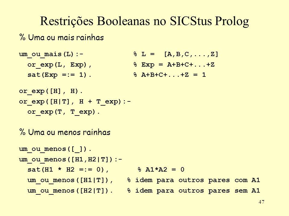47 Restrições Booleanas no SICStus Prolog % Uma ou mais rainhas um_ou_mais(L):-% L = [A,B,C,...,Z] or_exp(L, Exp),% Exp = A+B+C+...+Z sat(Exp =:= 1).% A+B+C+...+Z = 1 or_exp([H], H).