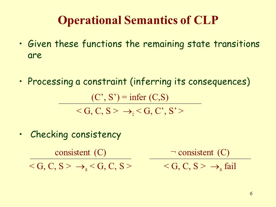 6 Operational Semantics of CLP Given these functions the remaining state transitions are Processing a constraint (inferring its consequences) Checking consistency (C, S) = infer (C,S) i consistent (C) s ¬ consistent (C) s fail