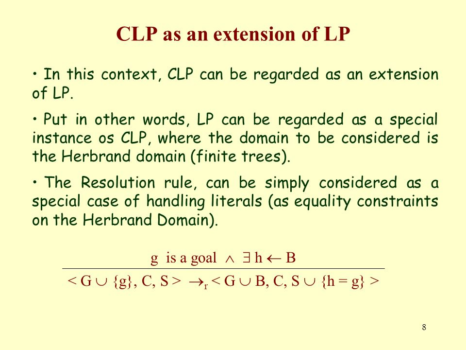 8 CLP as an extension of LP In this context, CLP can be regarded as an extension of LP.
