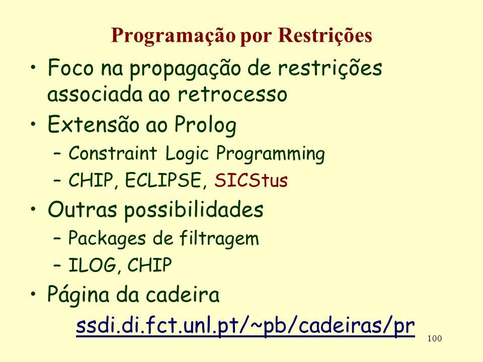 100 Programação por Restrições Foco na propagação de restrições associada ao retrocesso Extensão ao Prolog –Constraint Logic Programming –CHIP, ECLIPS