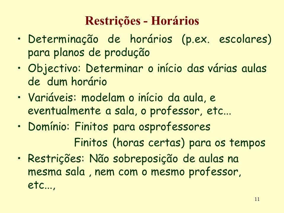 11 Restrições - Horários Determinação de horários (p.ex. escolares) para planos de produção Objectivo: Determinar o início das várias aulas de dum hor