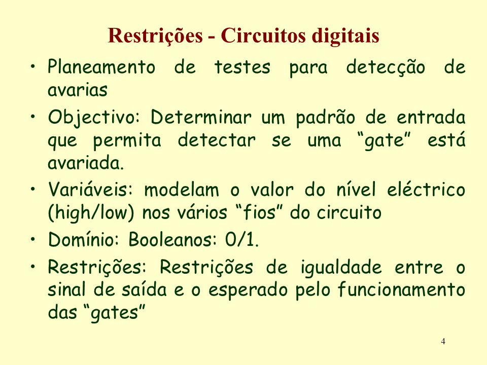 4 Restrições - Circuitos digitais Planeamento de testes para detecção de avarias Objectivo: Determinar um padrão de entrada que permita detectar se um