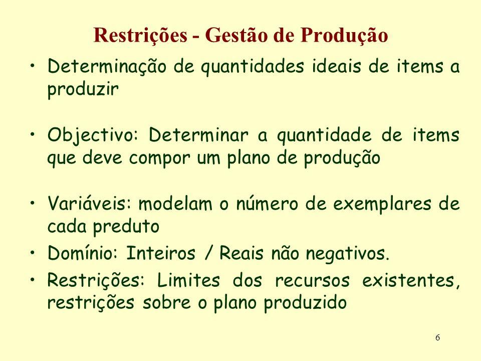 6 Restrições - Gestão de Produção Determinação de quantidades ideais de items a produzir Objectivo: Determinar a quantidade de items que deve compor u