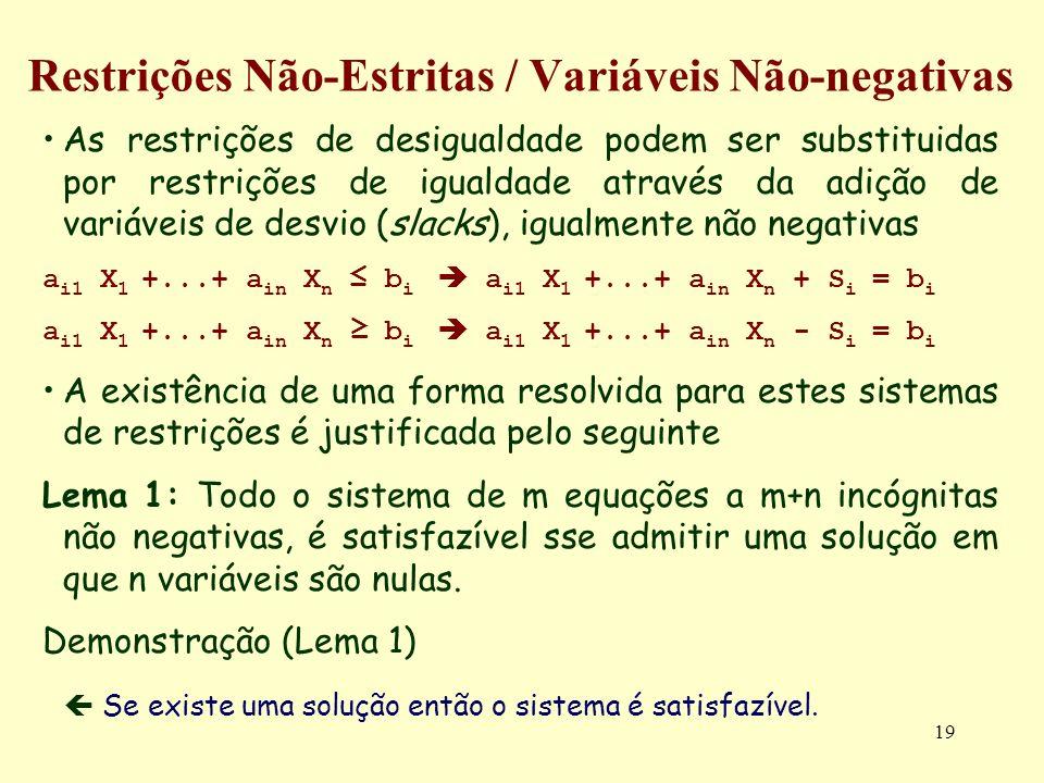 19 Restrições Não-Estritas / Variáveis Não-negativas As restrições de desigualdade podem ser substituidas por restrições de igualdade através da adiçã